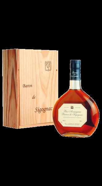 2002er Armagnac Baron de Sigognac in Holzkiste 40% 0,50 l