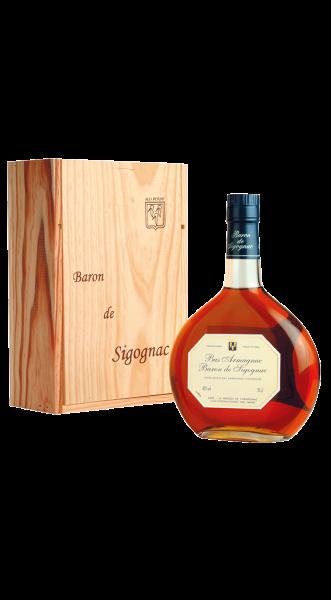 Armagnac 50 Jahre alt Baron de Sigognac in Holzkiste 40% 0,5l