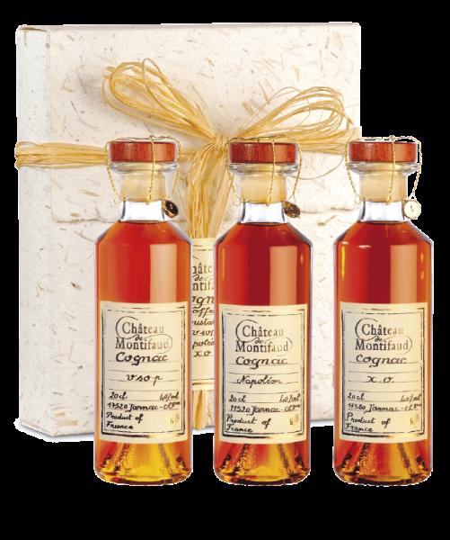 Château Montifaud Tasting Geschenkpackung mit je 1 Fl. VSOP, Napoleon und Xo Cognac 40% 0,2l!
